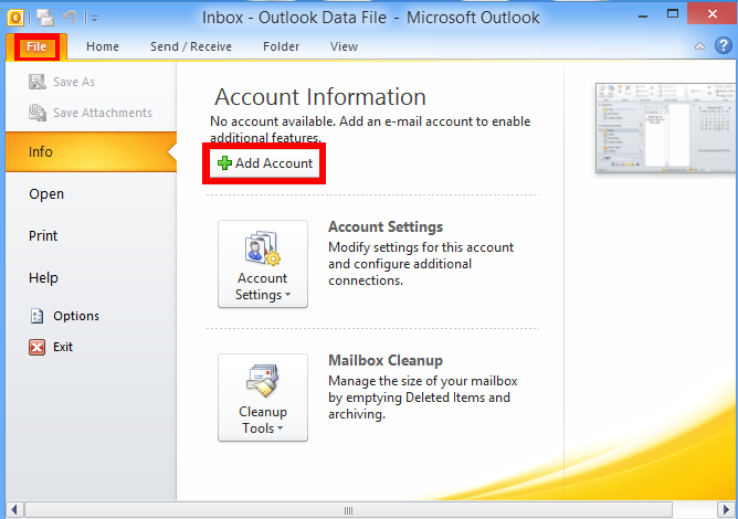 how to add a personal mailbox in outlook 2010